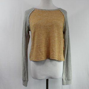 Inspired Hearts Orange Gray Cropped Sweater Small
